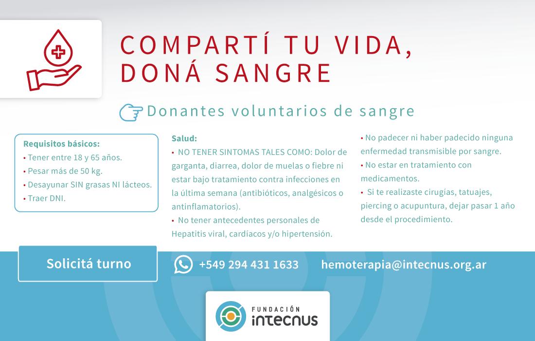 Requisitos para ser donador de sangre en Fundación INTECNUS